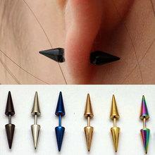 Hot 2 Pcs Unisex Punk Rock Personality Stainless Steel Spike Rivet Taper Stud Earrings 6 Colors