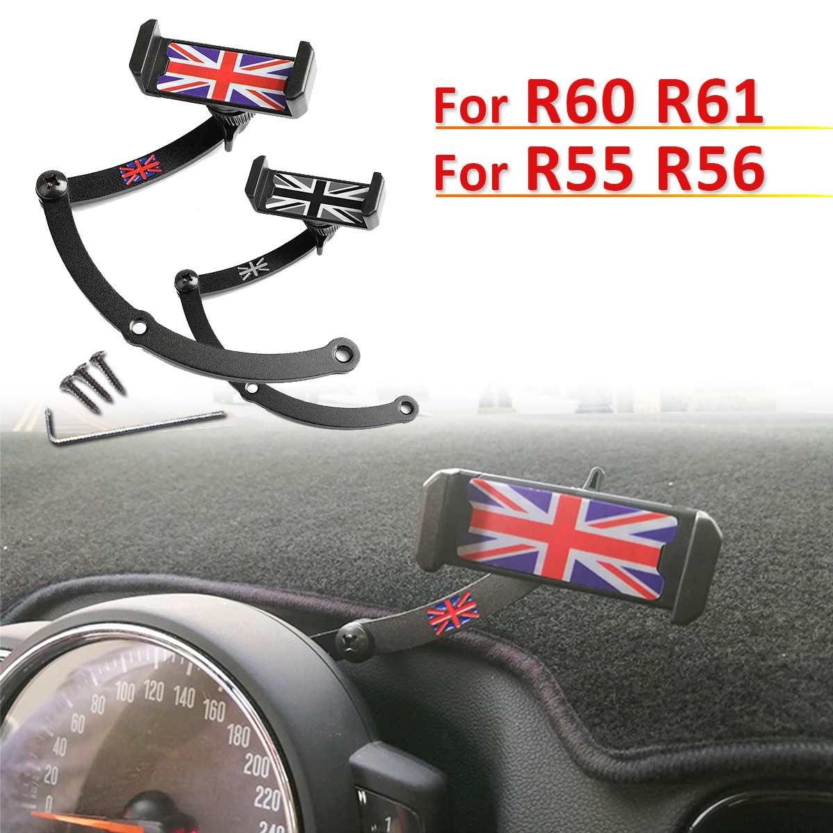 Steering Wheel Car Cell Phone Mount Folding Holder For BMW For Mini Cooper R55 R56 R60 R61 Car Auto Accessories Union Jack Stand steering wheel phone holder