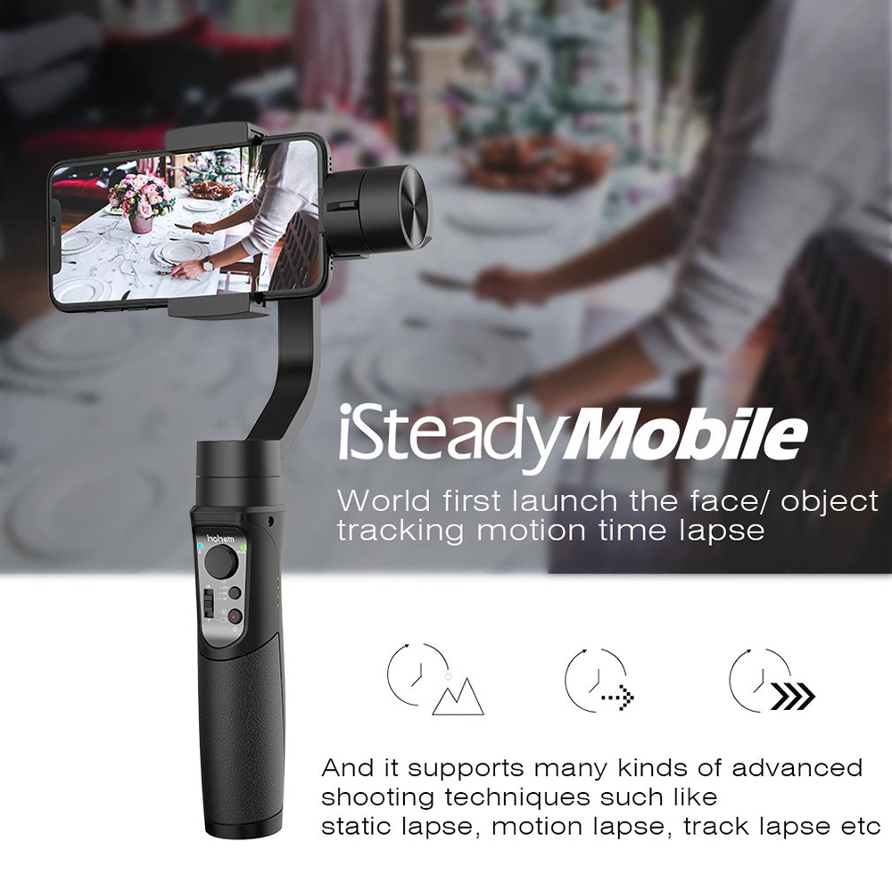 Hohem iSteady Mobile 3-Axis Handheld Gimbal Stabilizer for Gopro sjcam action camera iPhone SamsungVS smooth 4 vimble 2 DJI OSMO fpv 3 axis cnc metal brushless gimbal with controller for dji phantom camera drone for gopro 3 4 action sport camera only 180g