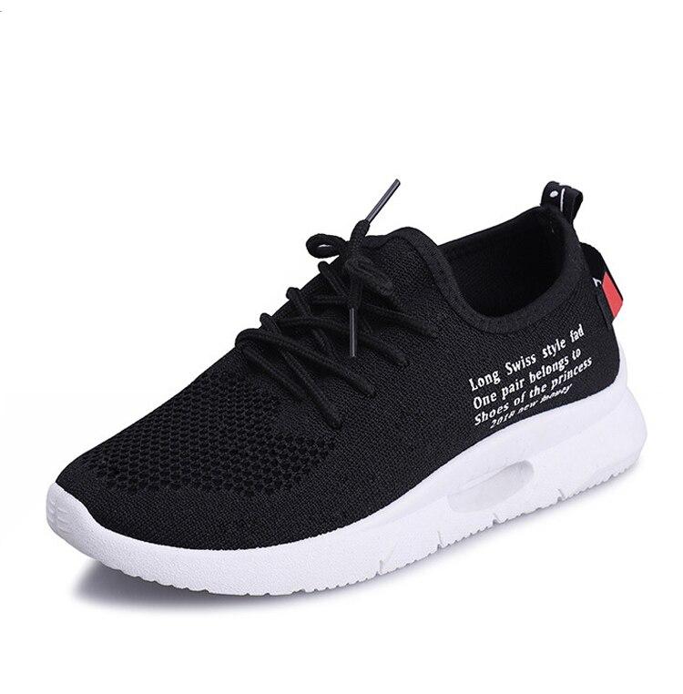 Deporte Encaje Casual blanco Volando Zapatilla Para Tejidos Malla De Negro Nuevo Transpirable Moda Blanco Zapatos 18 Mujeres Las Artesanales Otoño w6zqAz