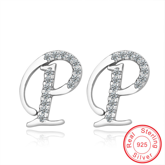 Unique letter Crystal wedding stud earrings gift for women Authentic 925 Sterling silver earring Fascinating jewellery VCYWE028