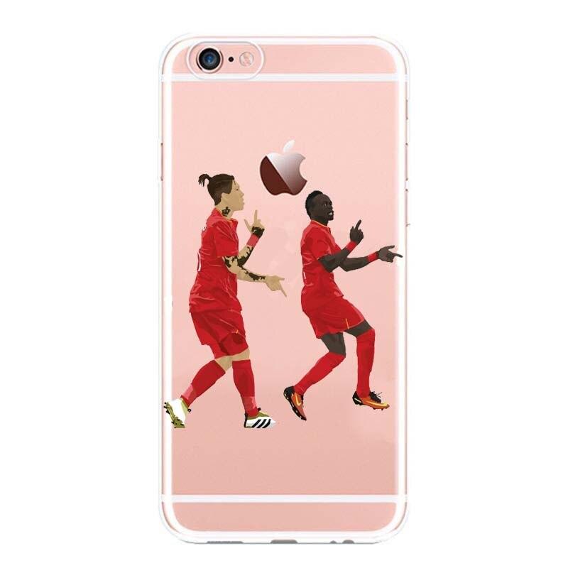 For iPhone 6S 5 6 7 7 Plus X Transparent Cartoon Capa Sport Star Famous Cristiano Ronaldo Football Soccer Transparent Back