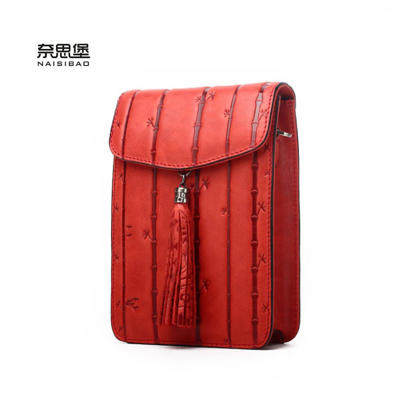 NAISIBAO genuine leather women bag fashion women luxury shoulder bag quality cowhide phone bag embossing Crossbody bags luxury genuine leather bag fashion brand designer women handbag cowhide leather shoulder composite bag casual totes