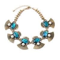 En línea venta superior Europa declaración aleación geométrica Grande Oval GEM gargantillas vendimia collar azul extender