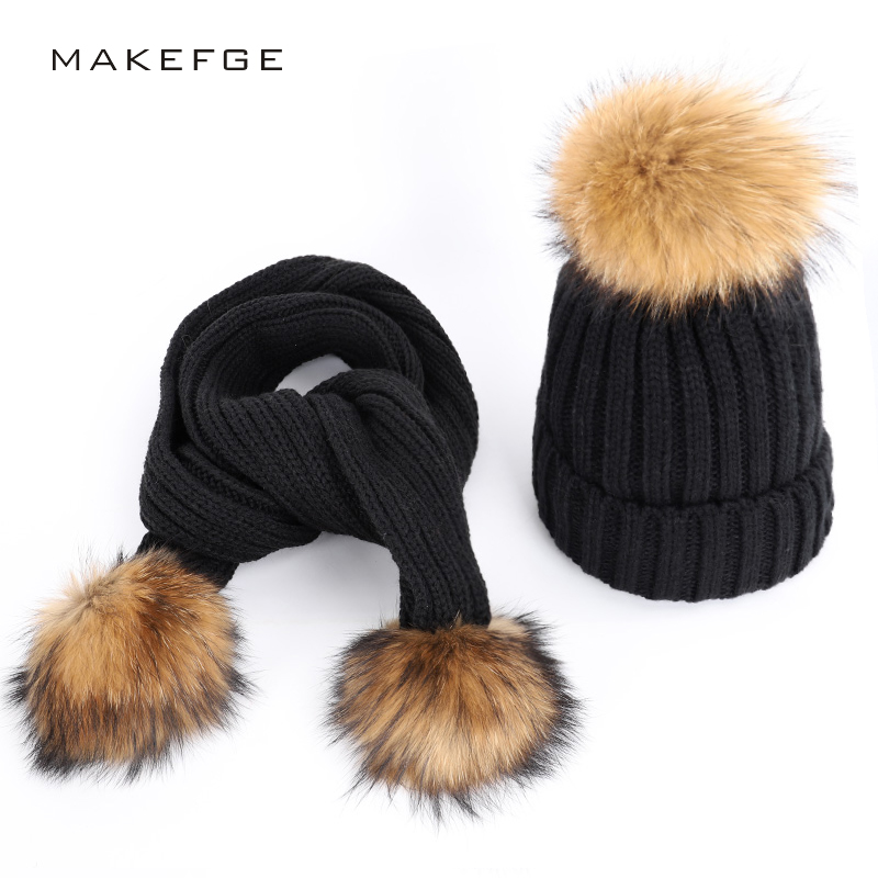 Women   beanie   warm winter hats natural raccoon fur pom-poms warm and comfortable ski thick caps scarf two-piece   Skullies     Beanies
