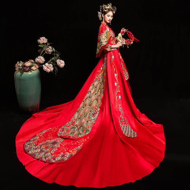 932d6091f Online Shop Bride Cheongsam Vintage Chinese Style Wedding Dress Retro Toast  Clothing Lady Embroidery Phoenix Gown Marriage Qipao red Clothes |  Aliexpress ...