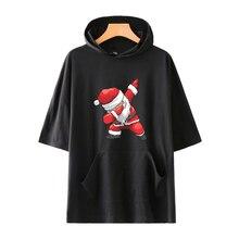 LUCKYFRIDAYF Kpop Harajuku Pop Christmas Santa Claus Short Sleeve Cool Hoodies Sweatshirts Soft women/men hoodies plus 4XL