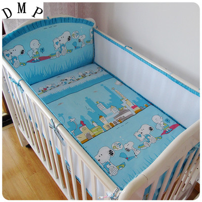 Promotion! 5PCS Cotton 100% Cotton Crib Bedding Sets Bed Sheet+Bumpers Baby Bedding Set ,include:(bumper+sheet)