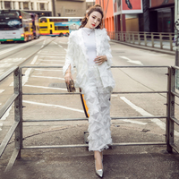 LXMSTH 2018 Spring White Two Piece Pants Suit Women Slim Fashion Runway Feather Tassel Blazer Coat