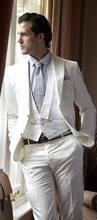 2017 Latest Coat Pant Designs Ivory White Beach Wedding Suits for Men Slim Fit Tuxedo 3 Piece Blazer Groom Tailor Suit Masculino(China)