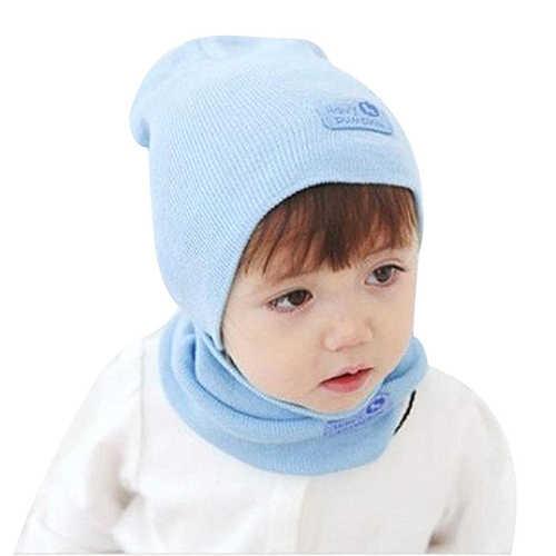 Zimowe dziecięce ubranka dla dzieci-kapelusz + szalik garnitur (jasny niebieski)