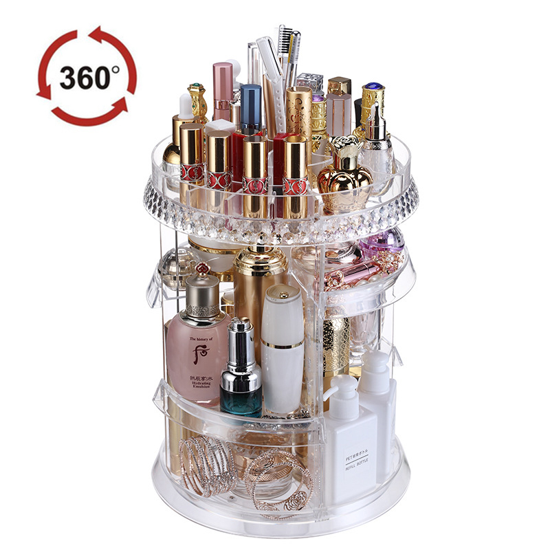 SAFEBET Creative Makeup Organizer 360 Rotating Cosmetic Storage Box Transparent Bathroom Shelf Large Capacity Desktop Organizer