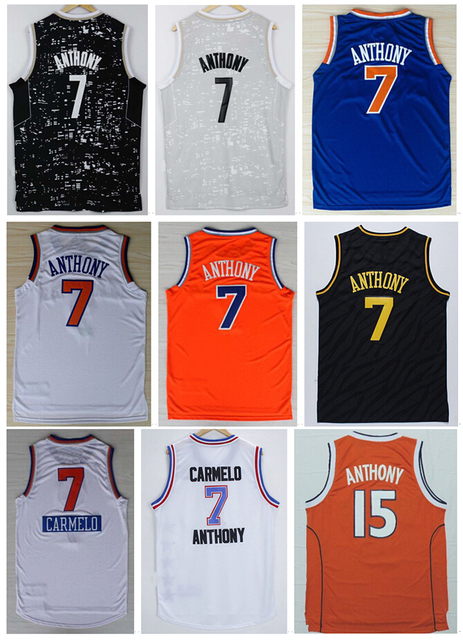 6c0e42b8a47 ... australia discount 7 carmelo anthony jersey color blue orange white  black 15 basketball jerseys stitched embroidery