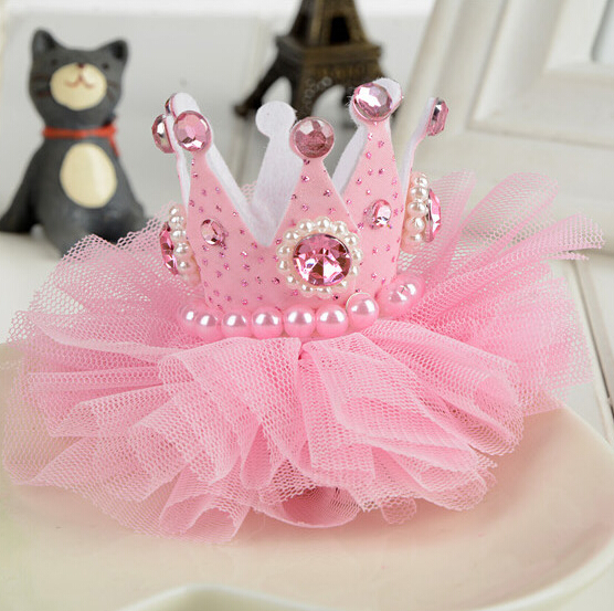 1pcs Lovely Girls Crown Pearl Princess Hair Clip Pink Tiaras Barrette   Headwear   hair accessories for Party Holiday