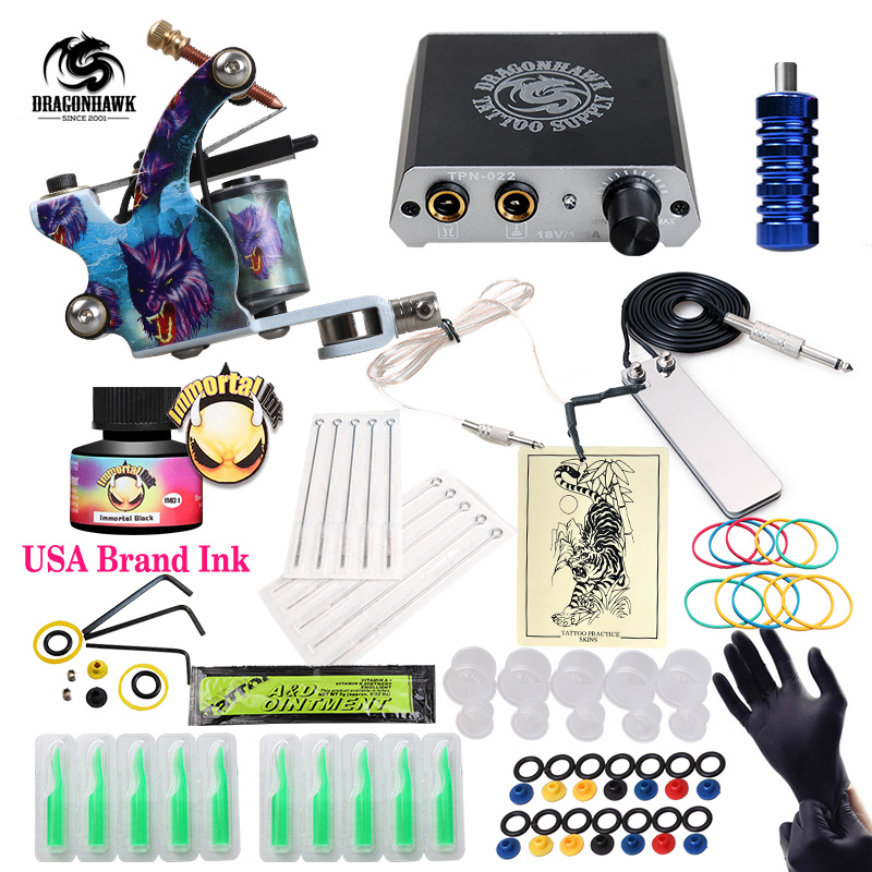 Free Ship Cheap Beginner Tattoo Kit With Hot Sales USA Brand Ink With 1 Tattoo Machine Complete Tattoo Power SupplyFree Ship Cheap Beginner Tattoo Kit With Hot Sales USA Brand Ink With 1 Tattoo Machine Complete Tattoo Power Supply
