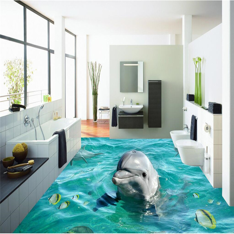 Custom Photo Floor murals Wallpaper 3D Stereoscopic Dolphin Ocean Bathroom Murals PVC Wallpaper Self. Online Get Cheap Ocean Bathroom  Aliexpress com   Alibaba Group