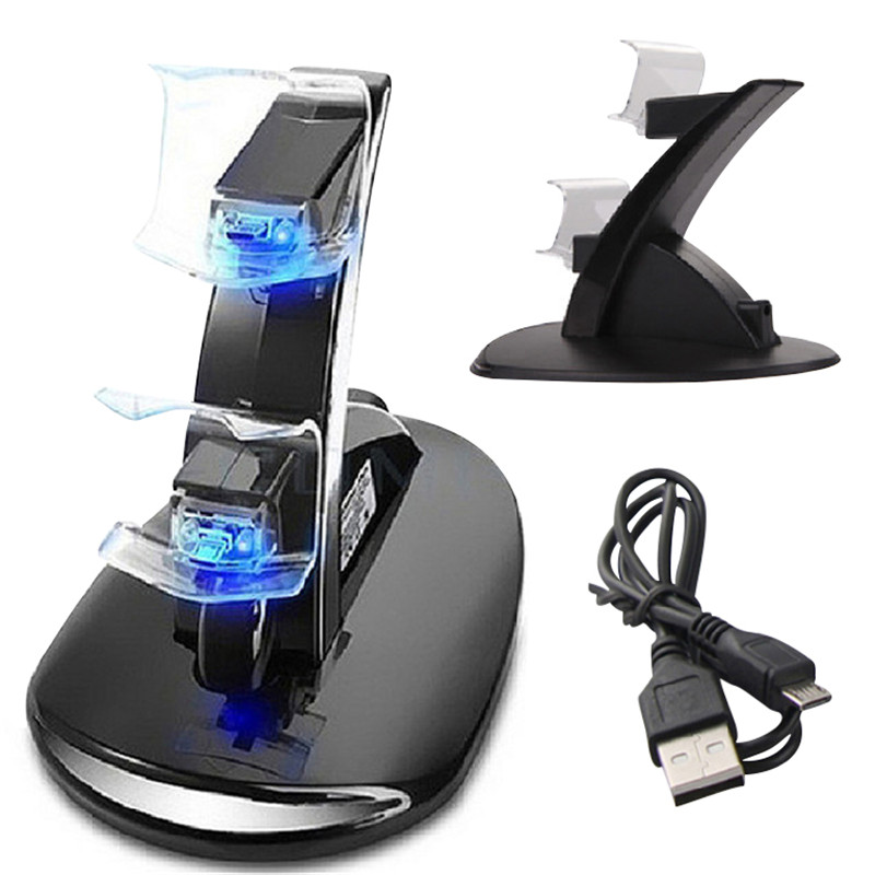 LED Dual USB Charger Charging Dock Stand Station for Sony Playstation 4 for PS4 Game Gaming Controller