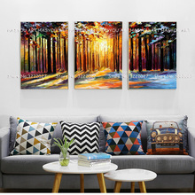 Oil Painting 5pcs Sunset Triptych Paintings for Living Room Deer Modular Picture Hand painted Wall Art Decor