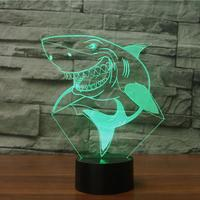 Shark 3d Lamp Colorful Touch Visual Led Night Light Atmosphere Gift Decorative Table  Led Usb Lamp Christmas decorative lights|LED Night Lights| |  -