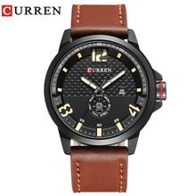 CURREN Brand  2019 Fashion Casual Quartz Wristwatch Men Leather Strap Round  Quartz Calendar Week Relogio Masculino Time Clock