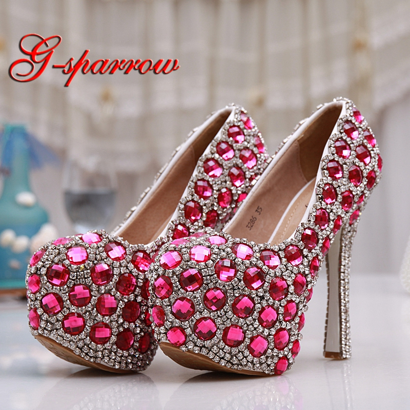 Pink Blue Diamond Wedding Shoes Luxurious Engagement Party High Heels Bride Shoes 14cm Super High Heel Cinderella Prom Pumps new pink red rhinestone diamond bride s shoes super high heels crystal bowl wedding shoes elegant sandals female pumps feminina