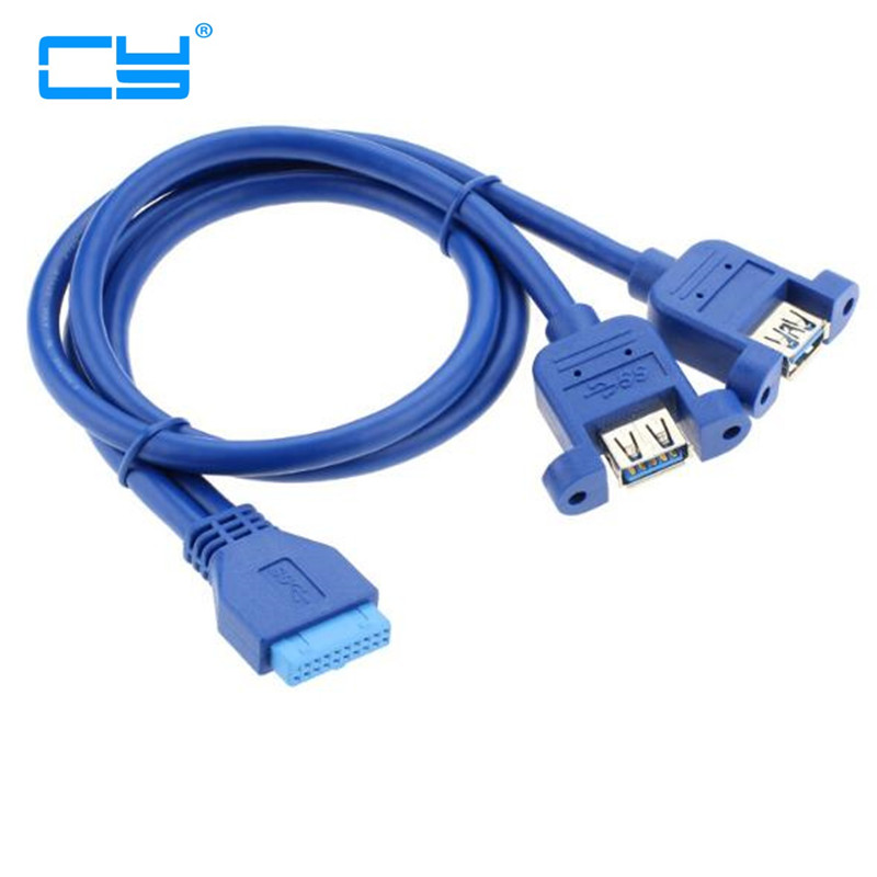 Blue color 0.5m USB 3.0 Motherboard 20pin to USB3.0 Dual Ports A Female connector cable cord 50cm with Screw Mount Type