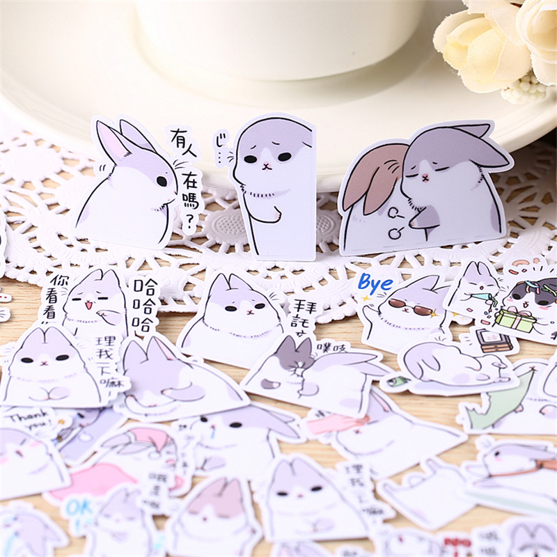 40pcs Mini Rabbit Homemad Sticker Anime Funny Scrapbooking Stickers For Kid DIY Laptop Suitcase Skateboard Moto Bicycle Car Toy