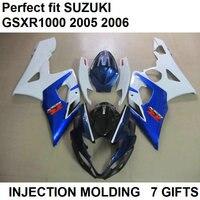Injection molded fairing kit for Suzuki GSXR1000 k5 k6 blue white black motorbike fairings set GSXR1000 2005 2006 LY24