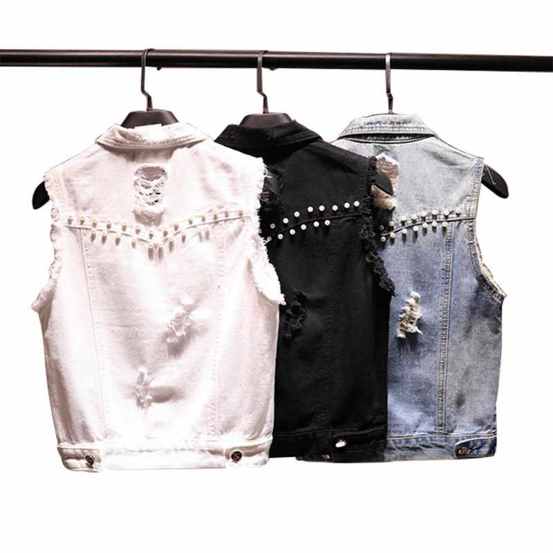 Weiß Schwarz Niet Loch Denim Weste Frauen Jeans Weste 2019 Neue Sommer Kurze Schlanke Ärmellose Weibliche Jacke Koreanische Veste Femme