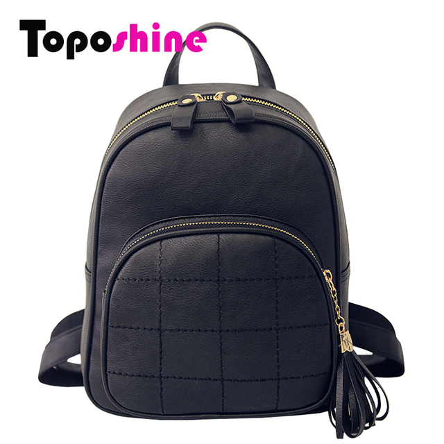 Toposhine Simple Style Embroidery Women Small Backpack Black Leather Women's Backpacks Fashion Female Backpacks 1524