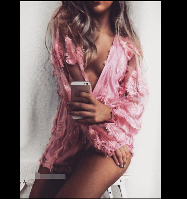 2017 fashion women high quality elegant sexy deep v-neck pink feather embroidery outfits jumpsuit playsuits rompers combinaison