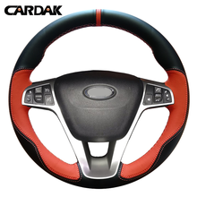 CARDAK Hand-stitched Orange Black Artificial Leather Car Steering Wheel Cover for Lada Vesta 2015 2016 2017(China)