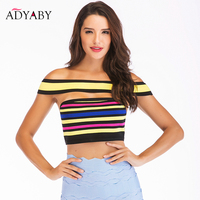 Bralette Crop Top For Women Summer 2019 New Arrivals Fashion Sexy Bandage Bodycon Tops Sleeveless Ladies Rainbow Color Crop Tops