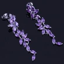 Gorgeous Long Purple Cubic Zirconia 925 Sterling Silver Drop Dangle Earrings For Women V0345