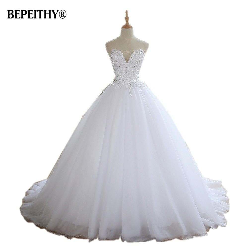 BEPEITHY Sweetheart Wedding Dress With Cleavage 2019 Robe De Mariage Court Train Vintage Bridal Gowns
