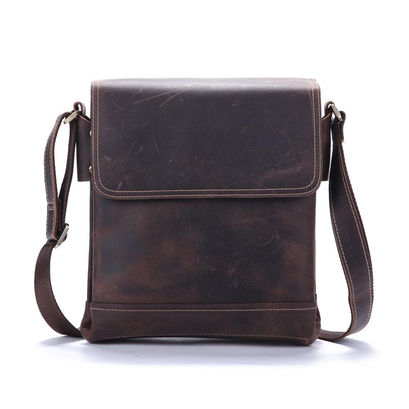 남성용 어깨 가방 정품 가죽 남성용 핸드백 Crazy Horse Messenger Bags 서류 가방 포트폴리오 Crossbody for iPads Holder bolso