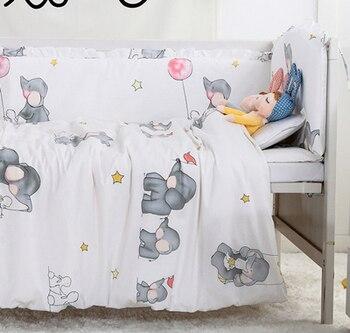 7PCS Baby Crib Bedding Set Baby Cot Linens Nursing bumper Baby Bed Sets Crib Bumper Infant Cot Set (4bumpers+sheet+pillow+duvet)