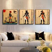 3 Panels Egyptian Decor Canvas Art Modern Abstract Oil Painting Wall Pictures For Living Room Decoration