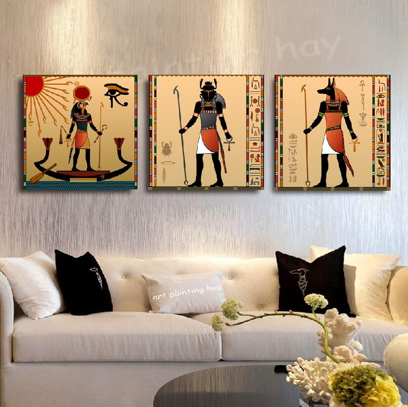 3 panels egyptian decor canvas art abstract oil painting wall pictures for living room for Living room wall decor pictures