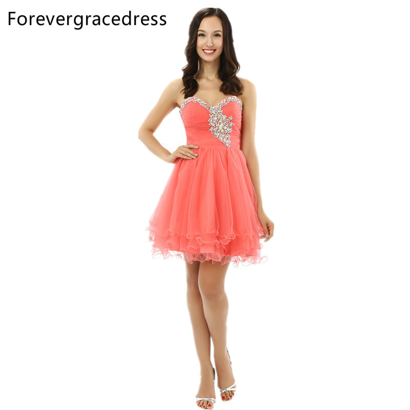 Forevergracedress 2018 Sexy Coral Short   Prom     Dress   Sweetheart Beaded Crystal Lace Up Back Party Gown Plus Size Custom Made