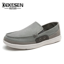 New Brand DEKESEN 2017 Mens Canvas Casual Shoes, Linen Flats Shoes Autumn huaraches Breathable Slip on footwear men Loafers Driving Shoes