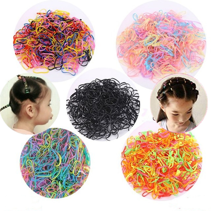300Pcs Mini Hair Rubber Bands <font><b>Elastics</b></font> Hair bands Ties Rope Stationery Holder for Kids Girls School Office Supplies 2cm image