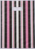2015 Hot-venda 100 pcs 35*25 cm Multicolor listras verticais Bonito Saco de Compras Cabo de Plástico Para Presentes atacado 015035070