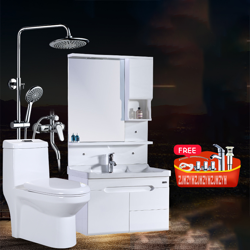WJS-5211 Modern Simple Whole Bathroom Cabinet Combination One Piece Toilet Set Sanitary Ware Shower Bath Suit With A Sink