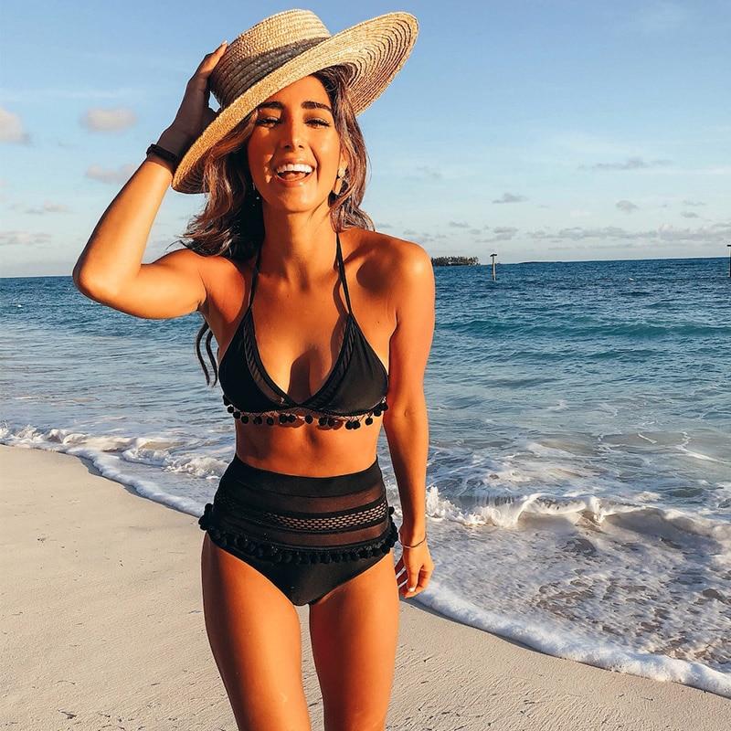 Bikini de alta cintura 2018 lado Sexy de encaje mujeres traje de baño Push Up Beachwear traje de baño brasileño Bikini Set Biquini
