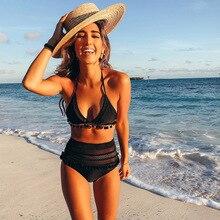 Cintura alta Biquíni 2018 Lado Sexy Lace Swimwear Swimsuit Mulheres Empurrar Para Cima Beachwear Maiô Conjunto Biquíni Brasileiro Biquini Feminino
