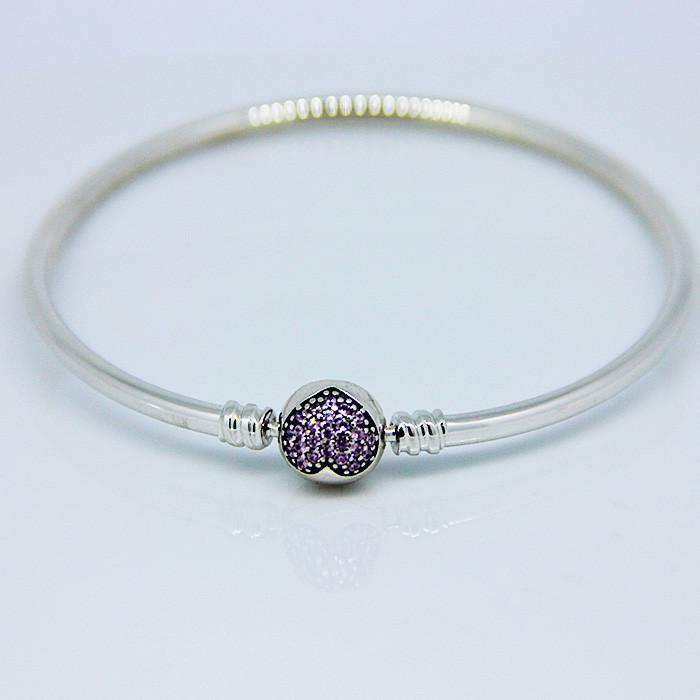 925 Sterling Silver Sweet Heart Carter Love Bracelet With Clear CZ Bangles For Women Carter Bracelet Fine 925 Silver Jewelry FLB006 (3)