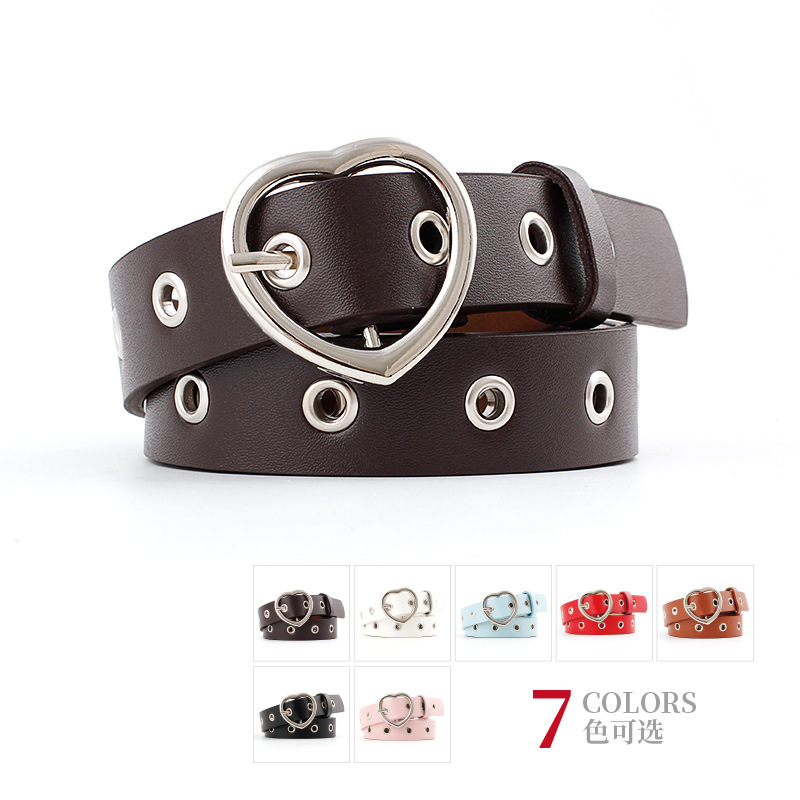 Fashionable Design Hot Casual Ring Black Metal   Belt   Heart Female   Belt   Punk Style Long Personality   Belt   For Women Jeans Wholesale