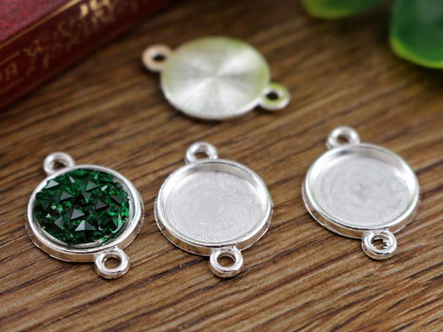 20pcs 12mm Inner Size Shiny Silver Simple Style Cabochon Base Cameo Setting Charms Pendant (A2-05)