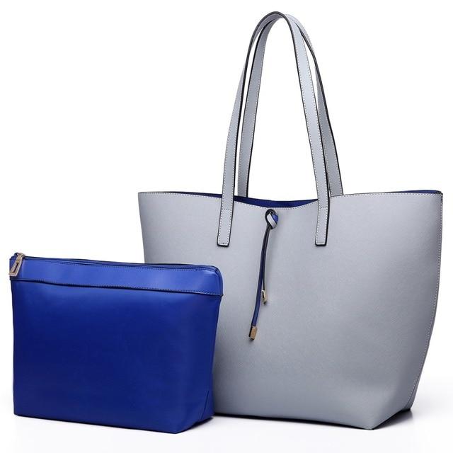 Miss Lulu 1 Set Women Pu Leather Shoulder Handbag Reversible Tote Bag Fashion Top Handle